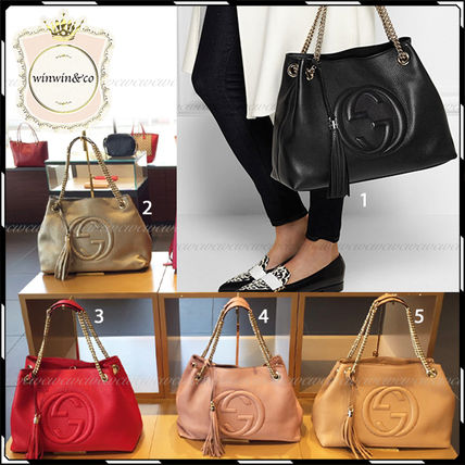 Gucci Handbags A4 Plain Leather