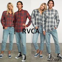 RVCA Gingham Tartan Casual Style Unisex Cropped Cotton Medium
