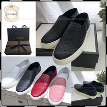 GUCCI Monogram Plain Toe Casual Style Leather Flats