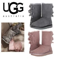 UGG Australia BAILEY BUTTON Round Toe Casual Style Fur Plain Ankle & Booties Boots