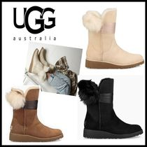 UGG Australia CLASSIC Round Toe Casual Style Fur Plain Ankle & Booties Boots