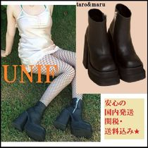 UNIF Clothing Platform Casual Style Plain High Heel Boots