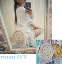 room IVY Casual Style Plain Leather Handmade Straw Bags