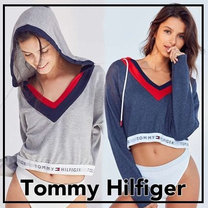 Tommy Hilfiger Short Casual Style V-Neck Collaboration Long Sleeves Plain