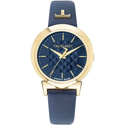 Casual Style Leather Round Analog Watches