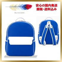 BUSCEMI Casual Style Unisex A4 Plain Leather Backpacks