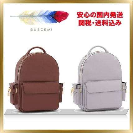 Casual Style Unisex A4 Plain Leather Backpacks