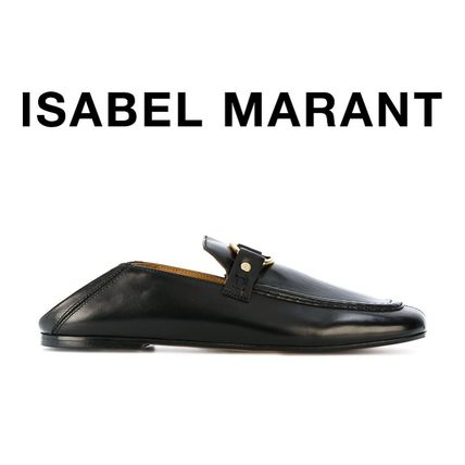 Isabel Marant Round Toe Casual Style Plain Leather Block Heels Slippers