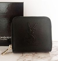 Saint Laurent Monogram Unisex Plain Leather Folding Wallet Long Wallet