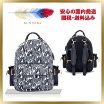 BUSCEMI Tropical Patterns Casual Style Unisex 2WAY Leather Backpacks