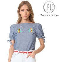 Olympia Le Tan Casual Style Puffed Sleeves Plain Cotton Medium With Jewels