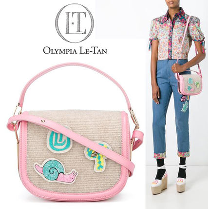 Casual Style Calfskin Plain With Jewels Shoulder Bags