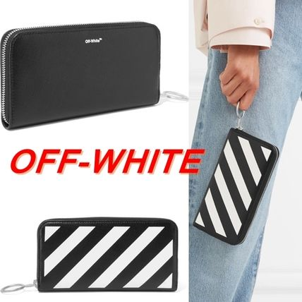 Off White striped logo leather long wallet
