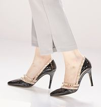 Enamel Studded Plain Pin Heels Office Style Hooties