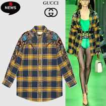 GUCCI Other Check Patterns Casual Style Wool Long Sleeves Medium
