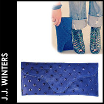 J.J. WINTERS Studded Plain Leather Elegant Style Clutches
