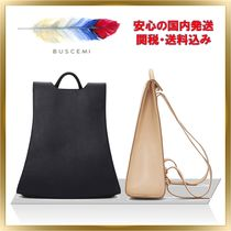 BUSCEMI Plain Leather Office Style Backpacks