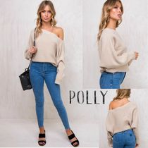 Polly the label Long Sleeves Plain Oversized Elegant Style Sweaters
