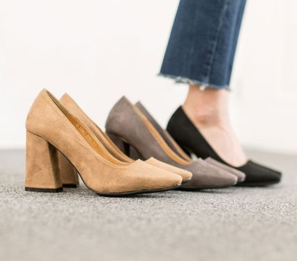 Square Toe Suede Plain Chunky Heels High Heel Pumps & Mules