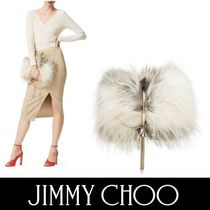 Jimmy Choo Fur Blended Fabrics Plain Party Style Clutches