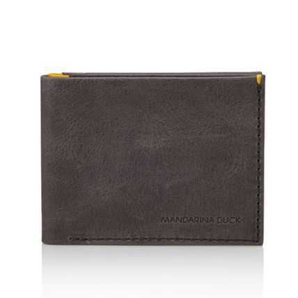 Street Style Plain Leather Card Holders