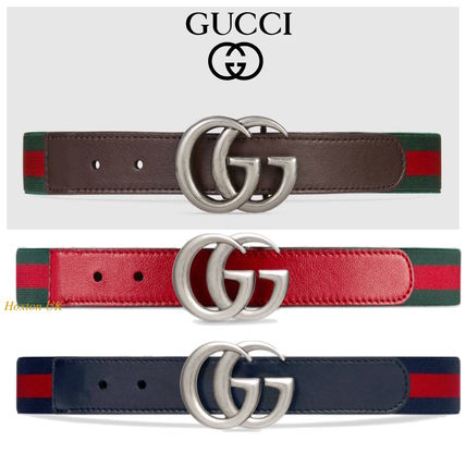 GUCCI Lady Web Casual Style Blended Fabrics Bi-color Leather Belts