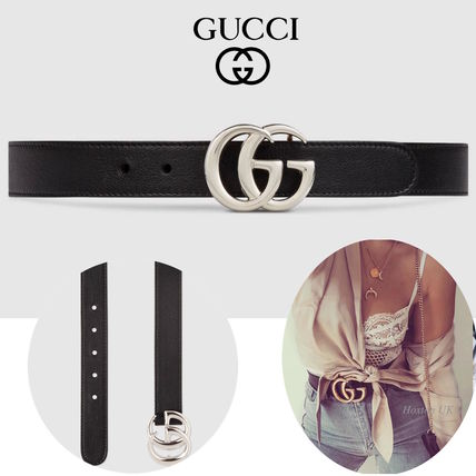 GUCCI Lady Web Casual Style Plain Leather Belts