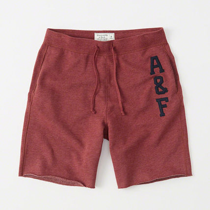 Abercrombie & Fitch mens fleece shorts Red