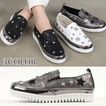Star Round Toe Rubber Sole Casual Style Faux Fur Studded