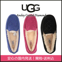 UGG Australia Plain Toe Moccasin Casual Style Suede Plain With Jewels