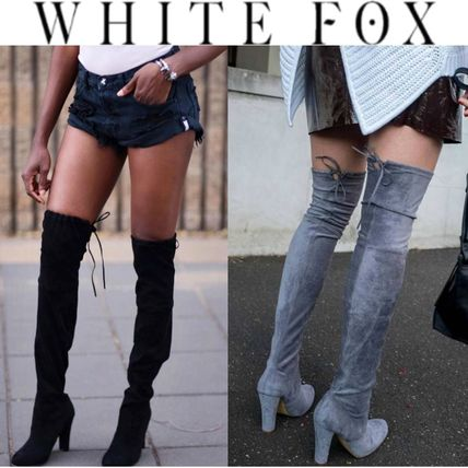 Faux suede thigh boots