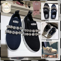 MiuMiu Rubber Sole Plain With Jewels Elegant Style Low-Top Sneakers