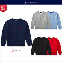 Ralph Lauren Crew Neck Pullovers Unisex Long Sleeves Plain Cotton