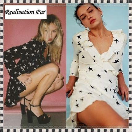 Realization per star pattern mini-length dress