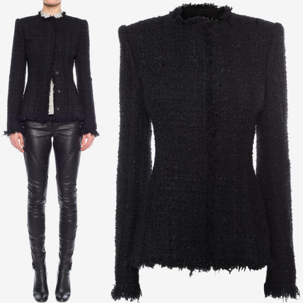 alexander mcqueen 17-18 AW AM 237 TWEED JACKET WITH FRAYED DETAIL