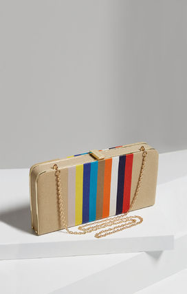 Stripes Casual Style Canvas Blended Fabrics 2WAY Clutches