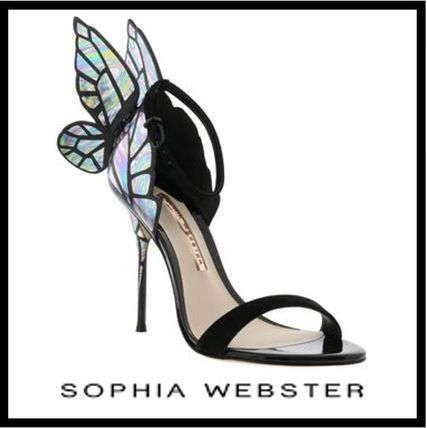 SOPHIA WEBSTER Plain Toe Casual Style Leather Pin Heels Ballet Shoes