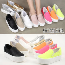 Platform Round Toe Casual Style Faux Fur Plain Slip-On Shoes