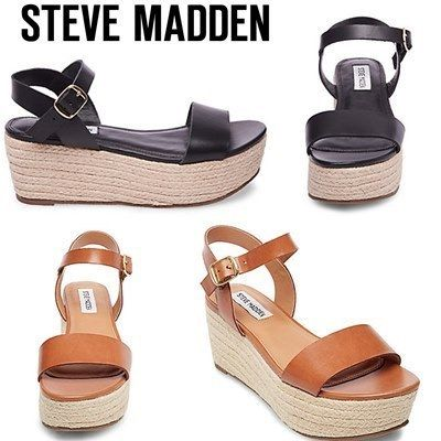 Open Toe Platform Plain Leather Platform & Wedge Sandals