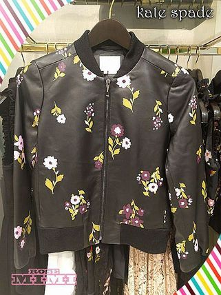 Kate spade in bloom leather bomber flower pattern leather