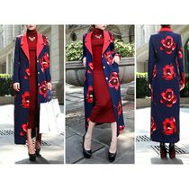 Flower Patterns Long Party Style Coats
