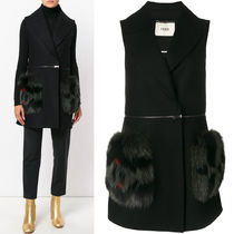 FENDI FE1685 FOX FUR EMBELLISHED WOOL SLEEVELESS COAT