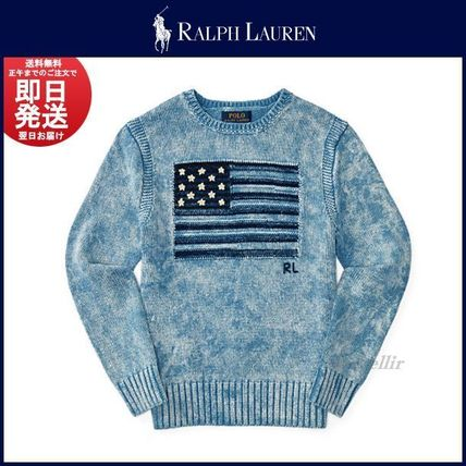 Ralph Lauren Crew Neck Pullovers Unisex Long Sleeves Cotton