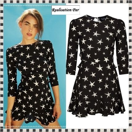 Short Star Casual Style Silk Cropped Dresses