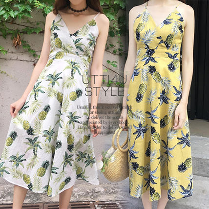 Tropical Patterns Casual Style Sleeveless Flared V-Neck