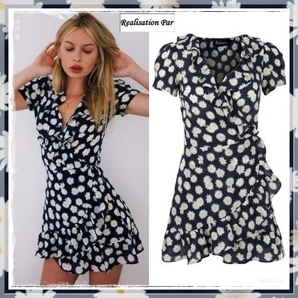 Wrap Dresses Short Flower Patterns Silk V-Neck Short Sleeves
