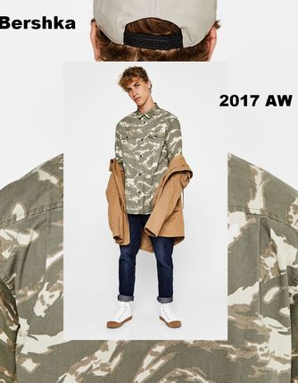 Bershka Button-down Camouflage Street Style Cotton Short Sleeves