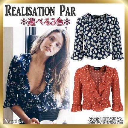 Short Flower Patterns Dots Casual Style Silk Cropped