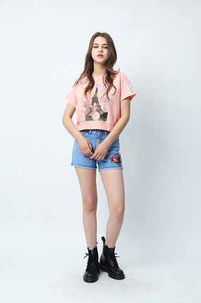 Crew Neck Short Other Animal Patterns Cotton Short Sleeves