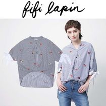 FIFI LAPIN Stripes Casual Style Cotton Medium Short Sleeves